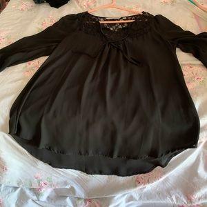 Lauren Conrad Black lace puff sleeve sheer tunic